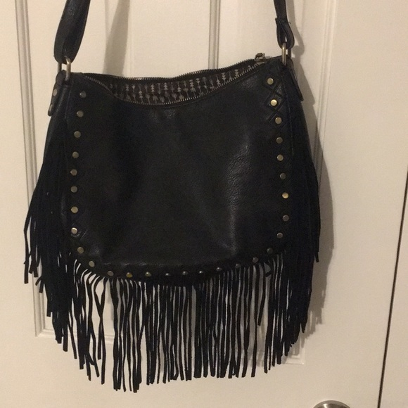sasha + sofi Handbags - Great condition black leather crossbody w/ fringe